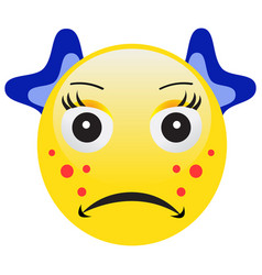 Emoticon with acne squeezing a pimple vector