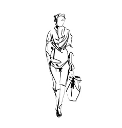 Fashion model sketch vector image vector image