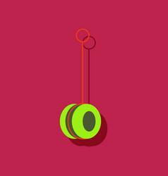 Flat icon design yo yo toy in sticker style vector