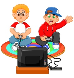 Funny two boys playing playstation vector