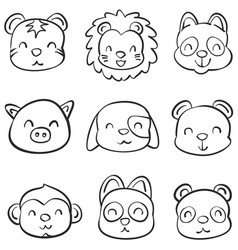 hand draw of animal head style vector image vector image