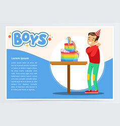 Happy boy and a birthday cake cute kid vector