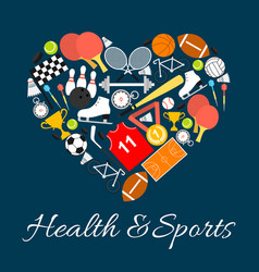 health and sports emblem in heart shape vector image vector image