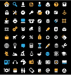 Icon set on black background vector image