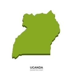 Isometric map of uganda detailed vector