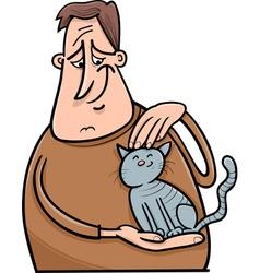 man and cat cartoon vector image