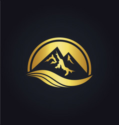 mountain icon gold logo vector image vector image