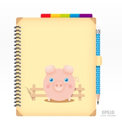 note book yellow color with pencil vector image