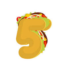 Number 5 tacos mexican fast food font five taco vector