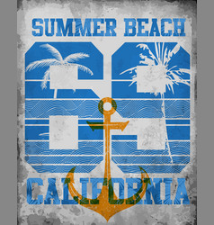 on the theme of california typography t-shirt vector image
