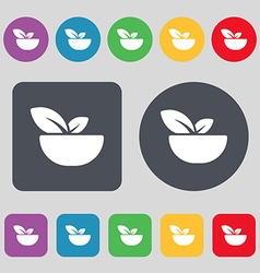 Organic food icon sign a set of 12 colored buttons vector