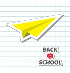 Origami yellow paper plane handdrawn doodle paper vector