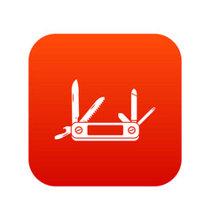 Pocket flashlight icon digital red vector