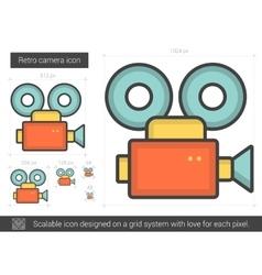 Retro camera line icon vector
