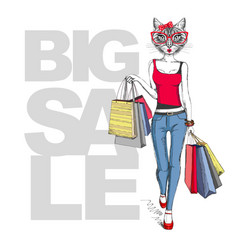 Retro hipster animal girl cat big sale hipster vector