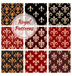 Royal floral pattern fleur-de-lis heraldic flowers vector