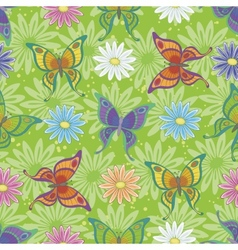 Seamless pattern butterflies and flowers vector image vector image