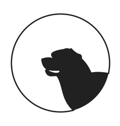 Silhouette of a dog head rottweiler vector