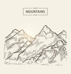 Sketch of mountains landscape highlands vector