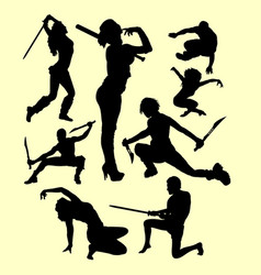 Using weapon martial art silhouette vector
