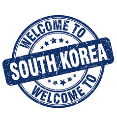 Welcome to south korea blue round vintage stamp vector