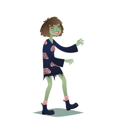 Zombie girl cute young woman in style of dead vector