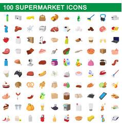 100 supermarket set cartoon style vector image vector image