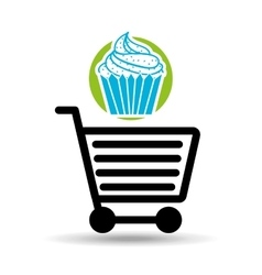 Shopping cart with dessert vector
