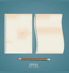 Old note paper with pencil vector