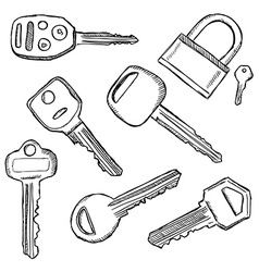 House and car keys doodle vector