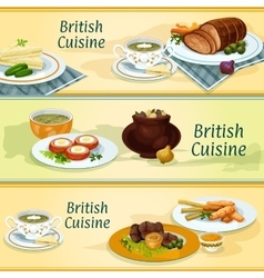 British cuisine traditional dishes for menu design vector