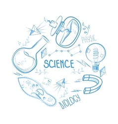Hand drawn science set circle design vector