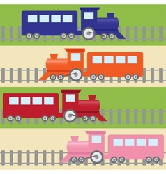 Seamless pattern with colorful trains vector