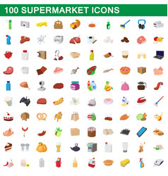 100 supermarket set cartoon style vector