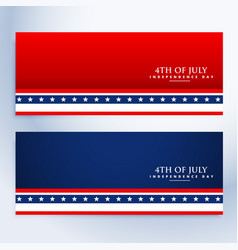 Clean 4th of july american banners vector