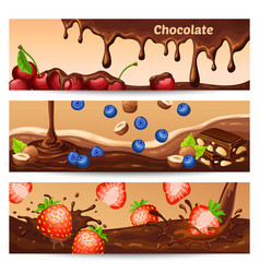 Cartoon chocolate horizontal banners vector