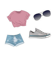 fashion set with jeans shorts purple top grey vector image