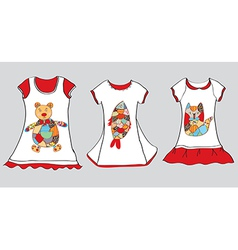 Dresses designs for little girl vector image
