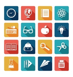 Education icons flat set vector