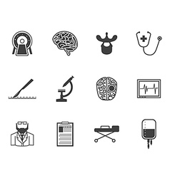 Black icons for neurosurgery vector