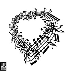 I love music concept heart made with musical notes vector