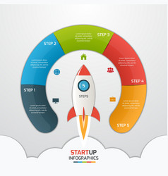 5 steps startup circle infographic with rocket vector
