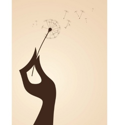hand with dandelion vector image