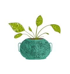 Green indoor leafy plant in pot vector