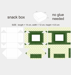 Green snack box 12x14x65cm vector
