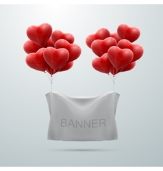 White textile banner with heart balloons vector