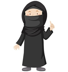 Muslim woman in black dress vector