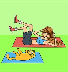 Aerobics with the cat exercises green lying down v vector