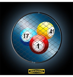 Bingo balls in a border cage and warning sign vector image vector image