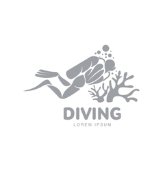 Black and white diving logo template with diver vector image vector image